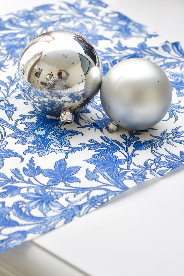 Blue and white napkin for DIY holiday ornaments