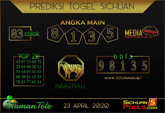 Prediksi Togel SICHUAN TAMAN TOTO 23 APRIL 2020