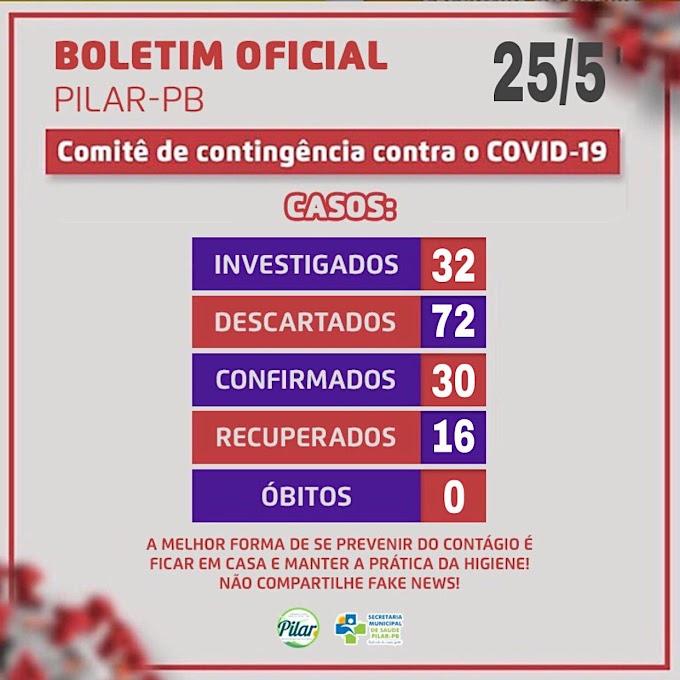 BOLETIM CORONA-VÍRUS (Pilar): Fique informado sobre atualizações em sua cidade. (25/05/2020).