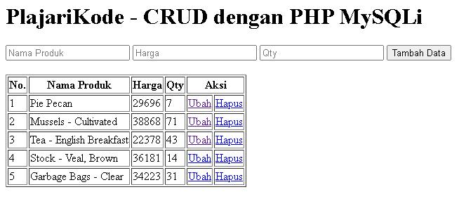 PlajariKode - Output halaman index