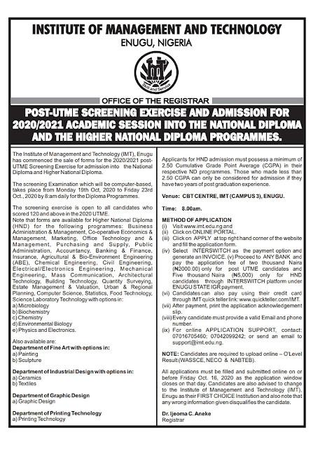 IMT Enugu HND Admission Form 2020/2021 | Regular & Part-Time