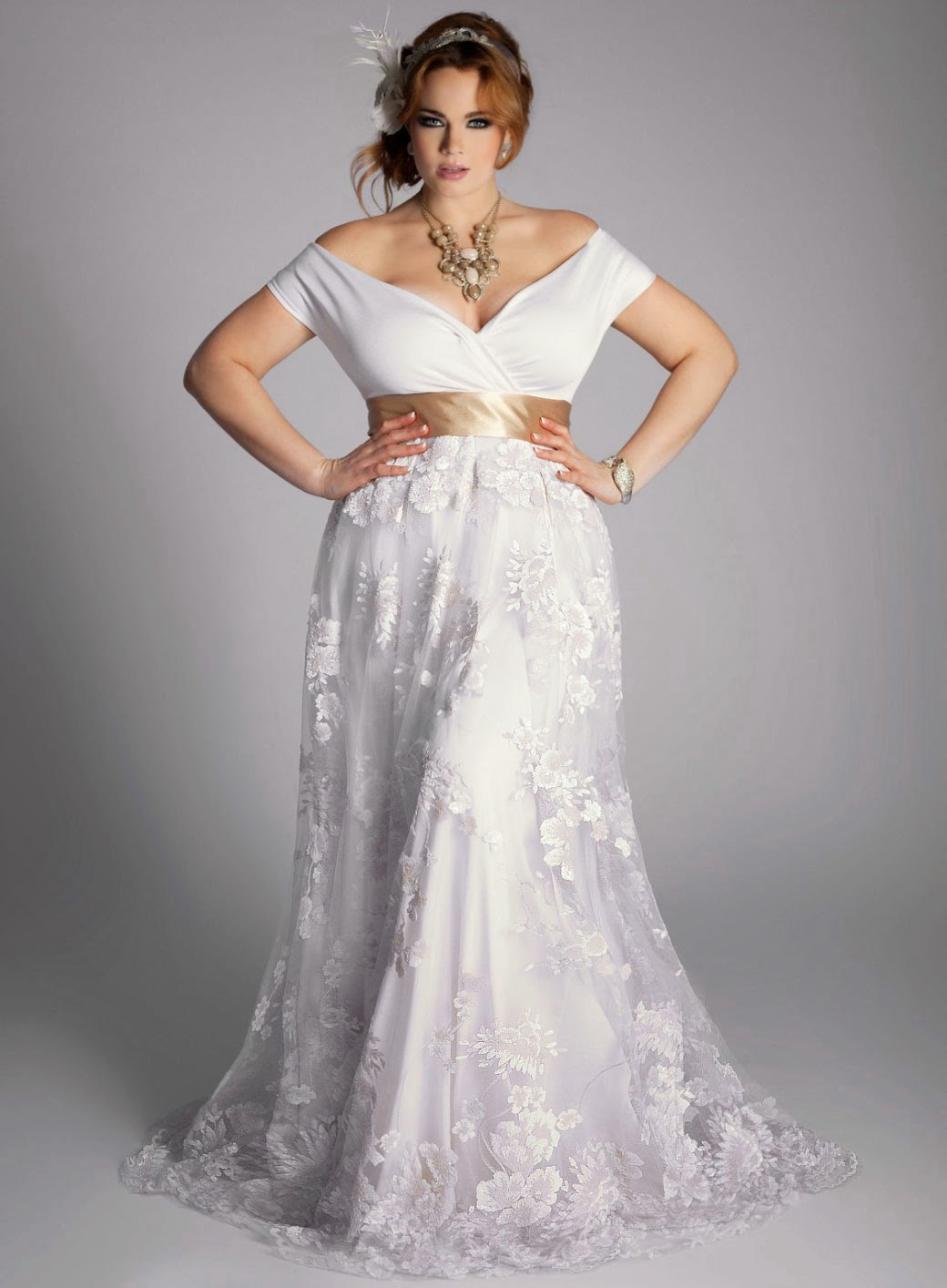 White Casual Plus Size Wedding Dresses