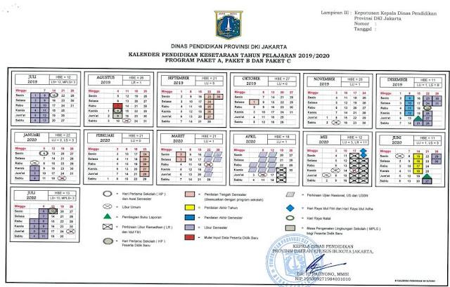 Kalender Pendidikan Tahun Ajaran 2019/2020 Provinsi Daerah Khusus Ibukota Jakarta