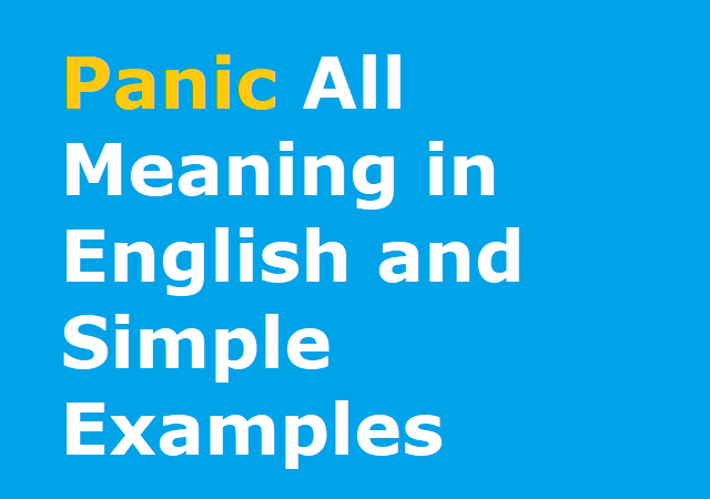 Panic All Meaning in English and Simple Examples