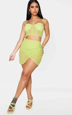 Shape lime mesh wrape front bodysuit