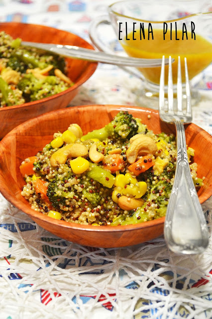 Ensalada de quinoa y brócoli con aliño de miel y mostaza