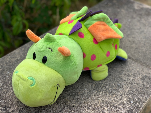 Green dragon FlipaZoo large plush with pink spots and purple spines