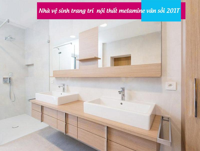 Nhà vệ sinh trang trí gỗ mdf melamine sồi