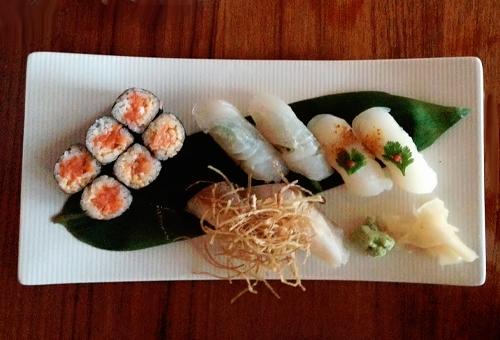 sushi on a white tray
