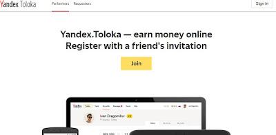 Kiếm tiền online với Yandex Toloka