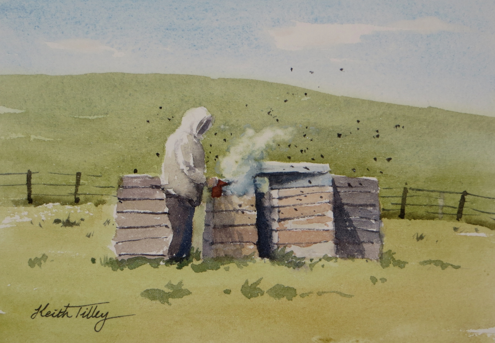 A beekeeper attending to his bee-hives. An original watercolour painting, ideal as a special gift.