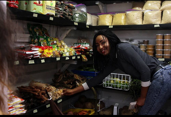 Actress-Belinda-Effah-food-store