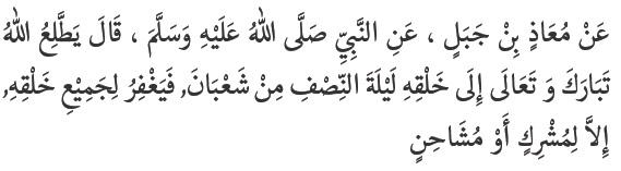 Allah Tabaraka wa Ta'ala melihat kepada makhluk-Nya pada malam Nishfu Sya'ban, lalu Allah mengampuni seluruh makhluk-Nya kecuali orang musyrik dan orang yang bermusuhan