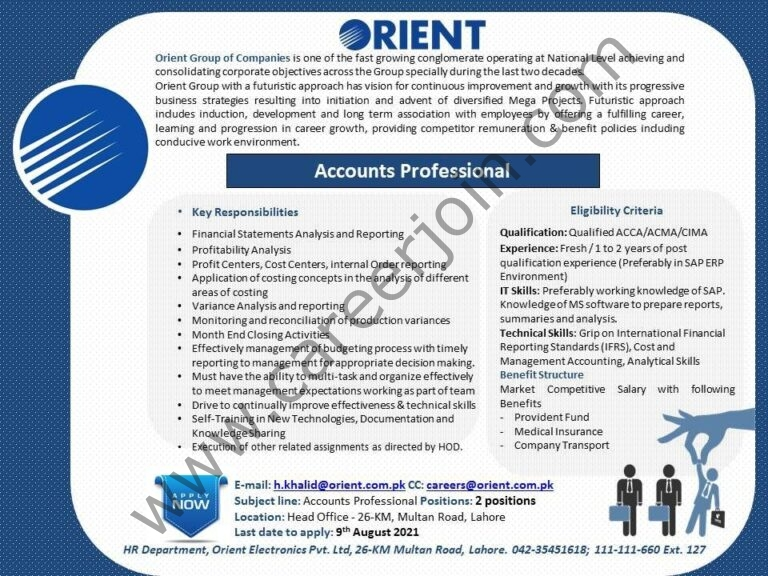 Orient Group of Companies Jobs Accounts Professional