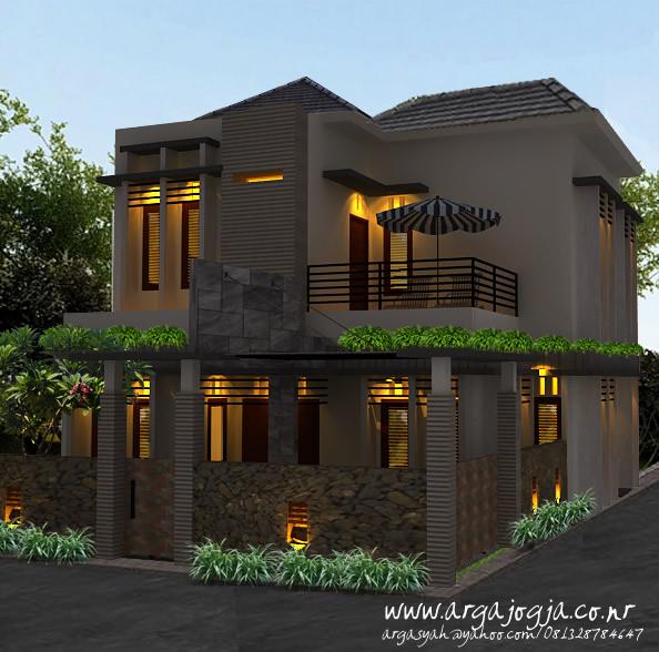 desain fasad eksterior rumah pojok 2 lantai gaya modern minimalis argajogja