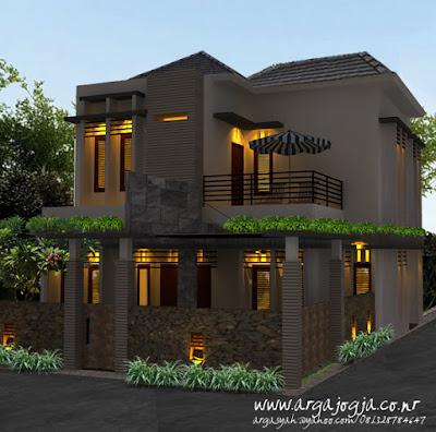 Desain Fasad Rumah 2 Lantai Lahan Pojok dengan Balkon