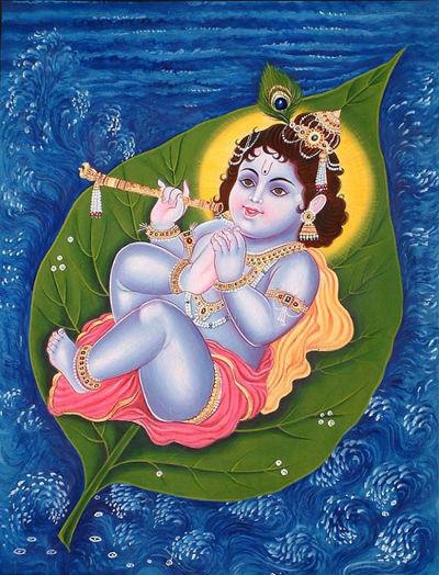 Krishna diatas daun Akshaya Vata