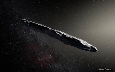 Artist's concept of interstellar asteroid 1I/2017 U1 ('Oumuamua) as it passed through the solar system after its discovery in October 2017. The aspect ratio of up to 10:1 is unlike that of any object seen in our own solar system.