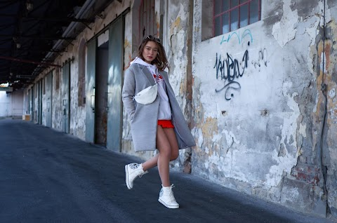 LONG COAT WITH HOODIE | STREETWEAR AGAIN | NEON MINI DRESS