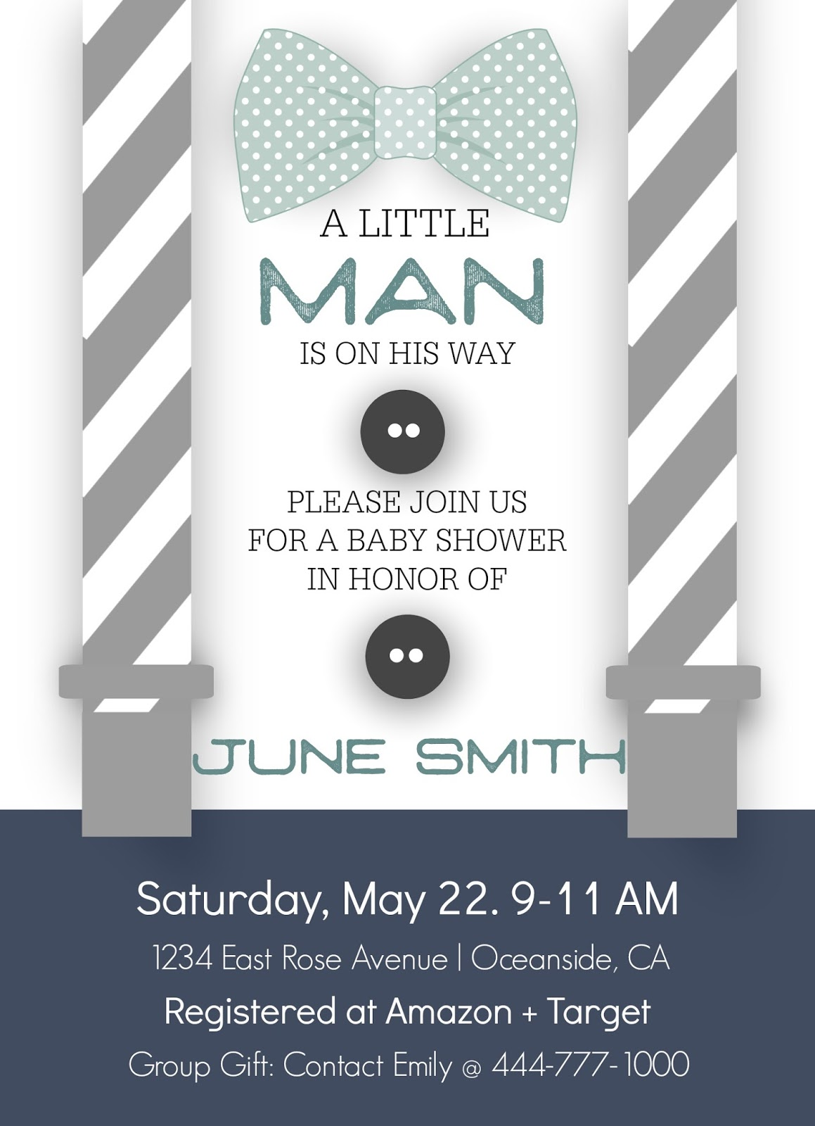 Stripes sweets little man baby shower template and here is an example of the invitation wording and format pronofoot35fo Image collections