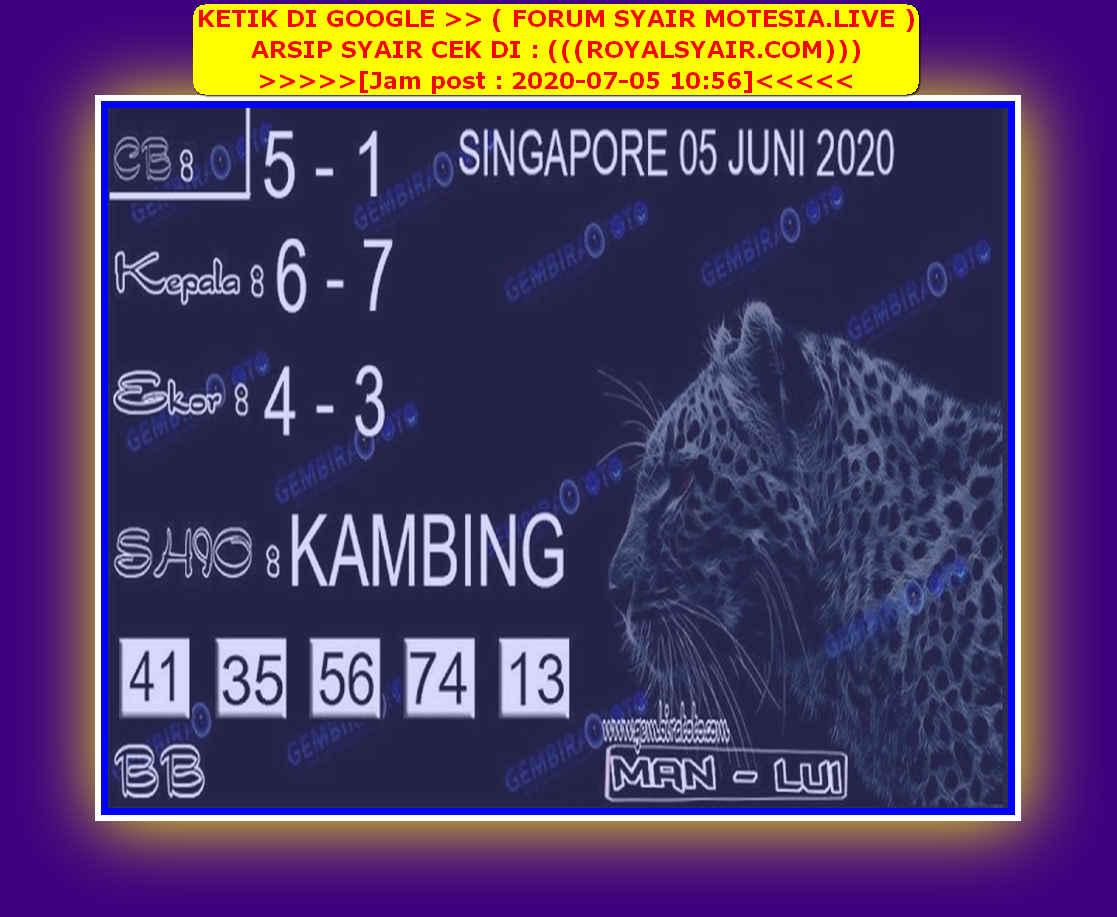 Kode syair Singapore Minggu 5 Juli 2020 133