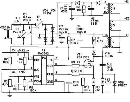 electronic circuit  uc3842 currentmode pwm controller