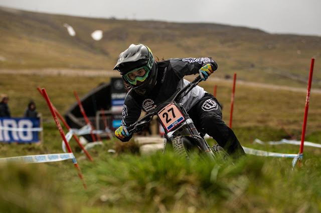 Maya Atkinson elite female downhill mountain bike racer.