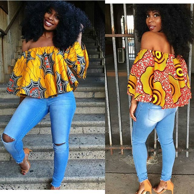 ankara blouse and blue jeans (1)