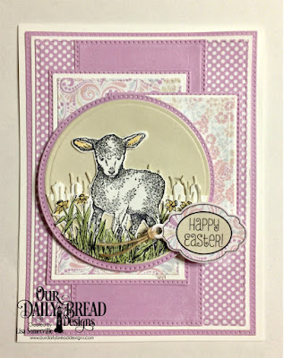 Our Daily Bread Designs Stamp Set:The Shepherd, Paper Collection: Pastel, Easter Card, Custom Dies: Pierced Rectangles, Double Stitched Rectangles, Pierced Circles, Circles, Squares, Pierced Squares, Mini Tag, Fence, Grass Hill, Lamb