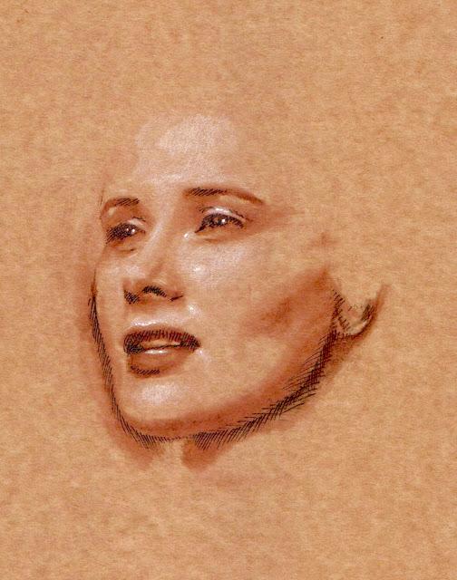 Sketch, portrait (mixed media). Work in progress