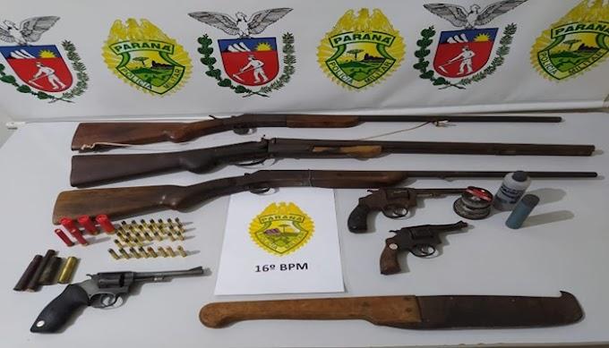 Laranjeiras do Sul: Indivíduo ameaça duas moradoras de Porto Barreiro e acaba preso com várias armas na sua residência