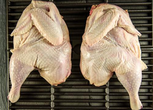Halves chickens ayam yang dipotong menjadi dua bagian yang sama