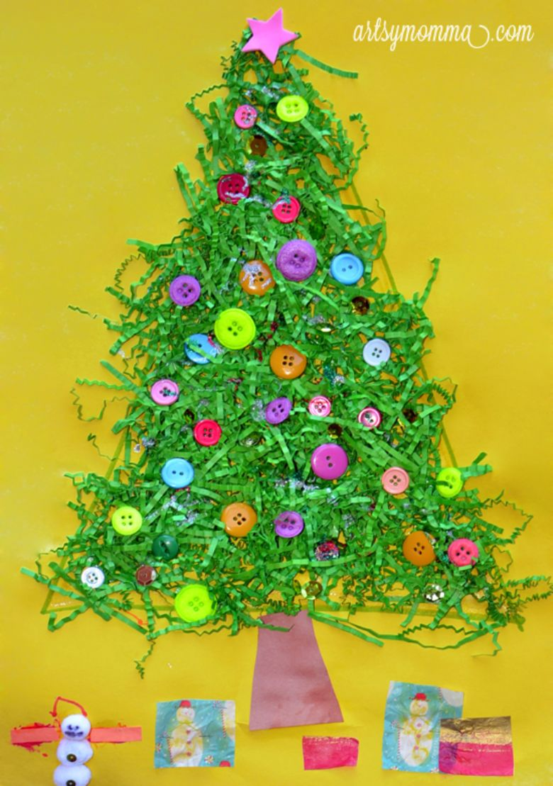 Shredded paper Christmas tree craft for toddlers and preschoolers