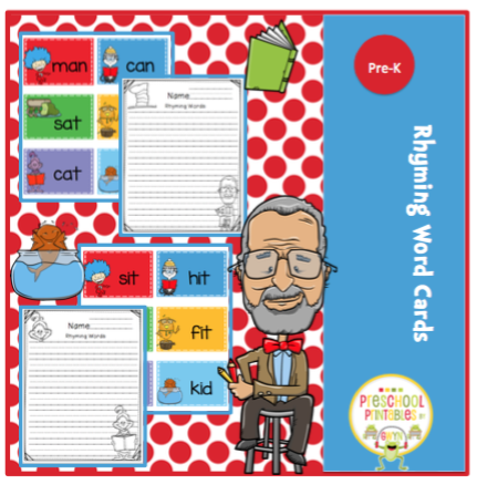 3 Letter Words For Pre K.Dr Seuss Theme Rhyming Cards 3 Letter Words Preschool