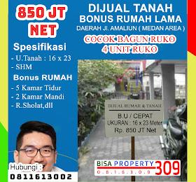 dijual tanah Bonus Rumah Lama murah ukuran 15 x 22 Bisa bagun 4 Unit Ruko <del>Rp 1 Miliar  </del> <price>Rp. 850 Jt /Net (No Nego)</price> <code>tanahdijlamaliun</code>