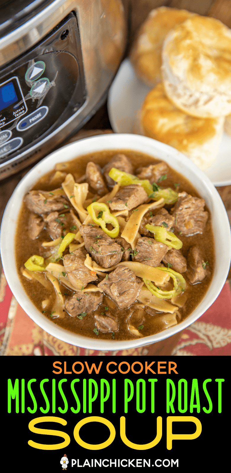 slow cooker steak soup in a bowl