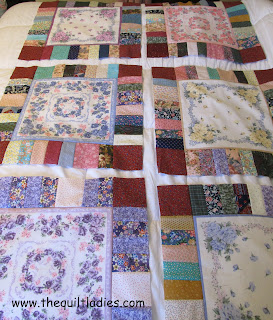 hankie quilt blocks laid out