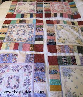 hankie quilt blocks laid out