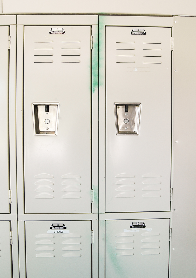 spray painted lockers