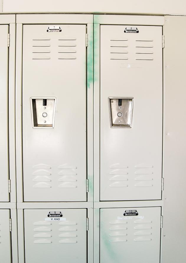 spray painted lockers