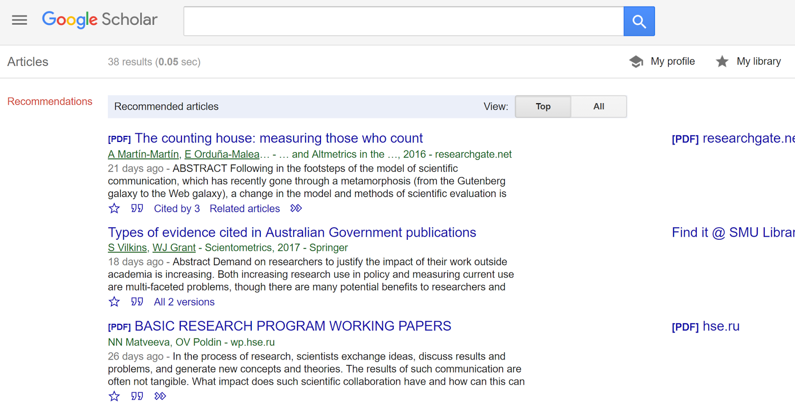 4 new things about google scholar ui recommendations and google scholar recommended articles ccuart Image collections