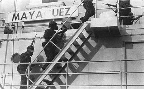 US Marines boarding the SS Mayaguez