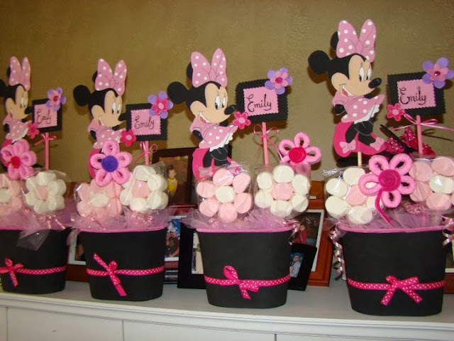 cute pink minnie mouse marshamallow favor buckets