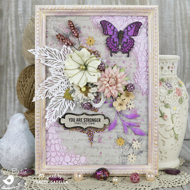 """You are Stronger"" Spring Mixed Media Panel by Tracey Sabella for Little Birdie Crafts #littlebirdiecrafts #littlebirdieflowers #littlebirdieonline #littlebirdieembellishments #mixedmedia #shabbychic #framedpanel, #timholtz #helmar #art #craft #crafts #chipboard #handmade #texture #realbrushmarkers"