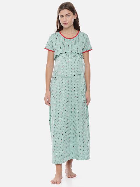 GOLDSTROMS - Women Sea Green & Red Printed Maternity Nightdress