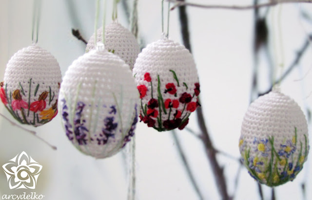 crochet and embroidery easter eggs