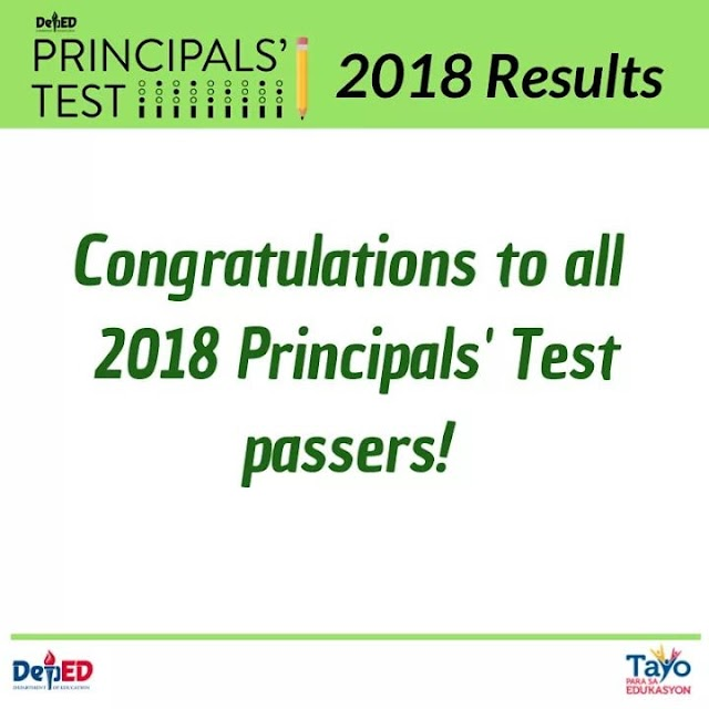 LIST OF PASSERS: December 2018 Principals' Test Results