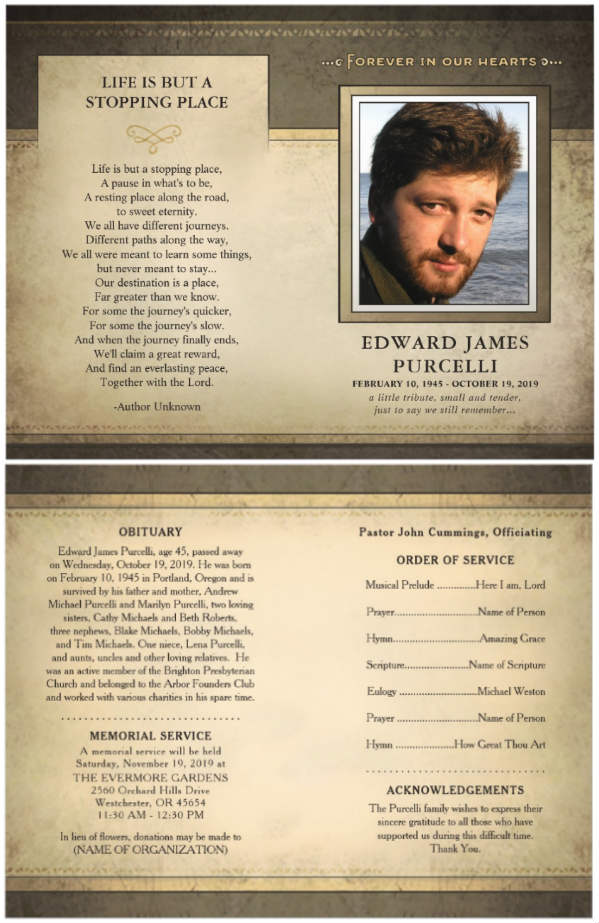 golden brown memorial service program flyer