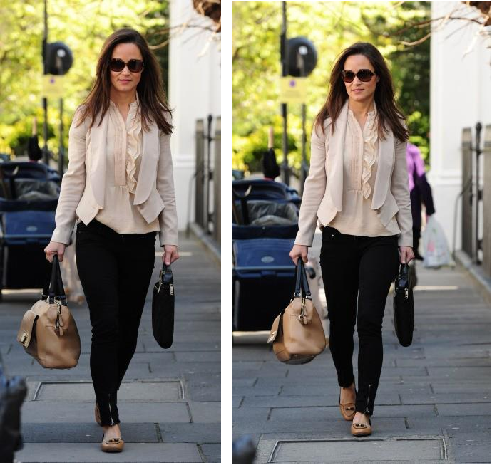 "PIPPA MIDDLETON look:  CHAQUETA: by Alice Temperley BOLSO: ""The Vienna"" by Milli Milli ANTEOJOS: Kate Spade New York  PANTALONES: Hudson Jeans ZAPATOS: ""Dakota Loafers"" Tory Burch"