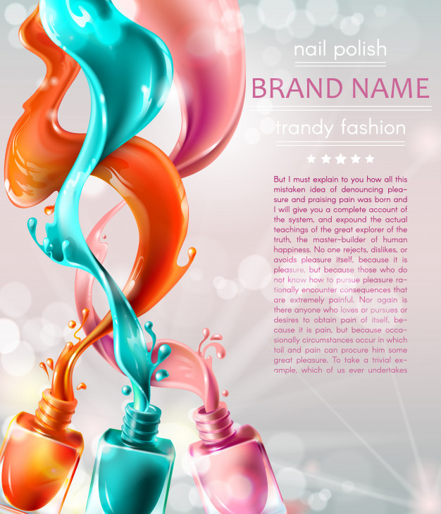 Vector illustration collection of colored open bottles with nail polish Free Vector